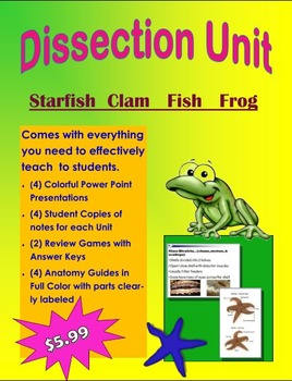 Dissection Unit: (Starfish, Clam, Fish, Frog)