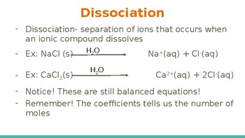 Dissociation, Precipitation and Net Ionic Equations Interactive Lecture