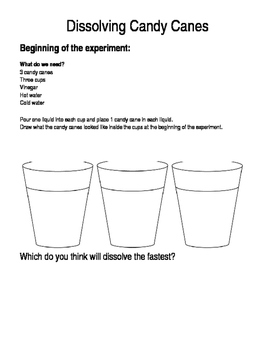 Dissolving Candy Canes Science Experiment- Student recording sheet