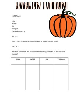 Dissolving Pumpkin Experiment