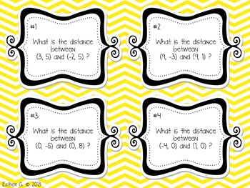 Distance Between Coordinates Task Cards CCSS 6.NS.8 Aligned**