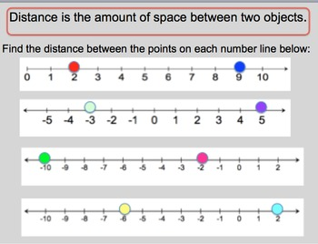 Distance Between Integers Worksheet and PowerPoint Lesson 6&7th grade
