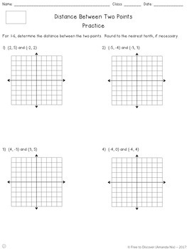 Distance Between Two Points Differentiated Notes and Practice