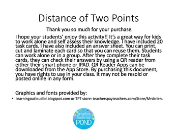 Distance Between Two Points QR Code Task Cards
