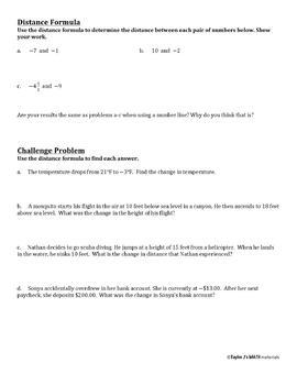 Distance Between Two Rational Numbers Worksheet