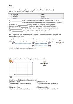 Distance, Displacement, Speed, and Velocity - Worksheet
