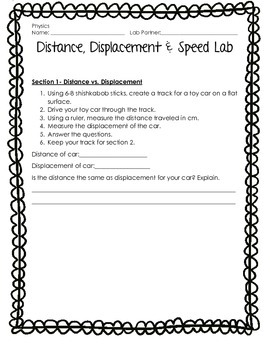 Distance, Displacement, and Calculating Speed Lab