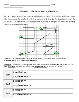 Distance And Displacement Worksheet Teaching Resources Teachers