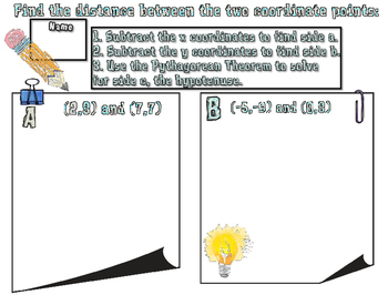 Distance Formula Lesson, Notes, and Activity