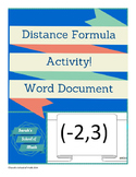 Distance Formula Activity: Finding the distance between objects in the room