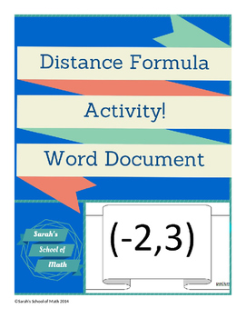 Distance Formula Activity: Finding the distance between ob
