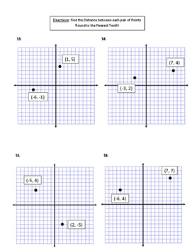 Distance Formula Assessment (Quiz) & Answer Key