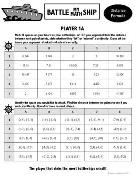 Distance Formula - Battle My Math Ship Activity
