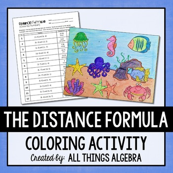 distance formula coloring activity by all things algebra tpt. Black Bedroom Furniture Sets. Home Design Ideas
