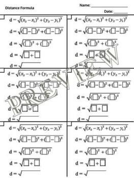 Distance Formula Graphic Organizer Work Paper Flow Chart