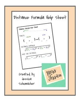 Distance Formula Help Sheet