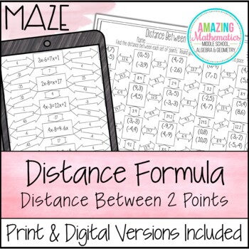 distance formula maze by amazing mathematics teachers pay teachers. Black Bedroom Furniture Sets. Home Design Ideas