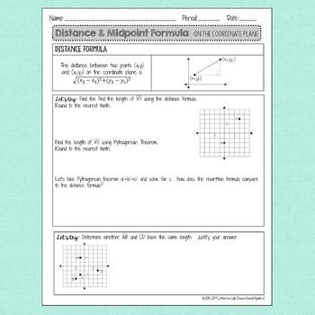Distance Formula & Midpoint Formula: Notes & Practice