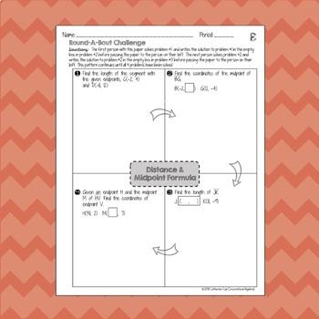 Distance Formula & Midpoint Formula: RoundABout Challenge Activity