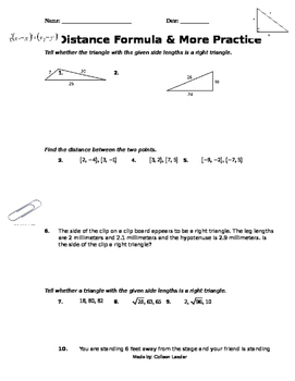 Distance Formula & More Practice