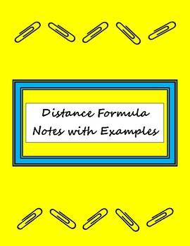 Distance Formula Notes