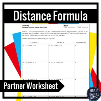 Distance Formula Partner Worksheet