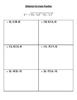 Distance Formula Practice Handout