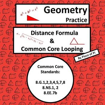Distance Formula Pythagorean Theorem Common Core Spiraling Test Prep 8.G.7 8