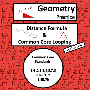 Distance Formula Pythagorean Theorem Common Core Spiraling Test Prep 8.G.7 8