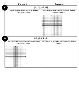 Distance Formula & Pythagorean Theorem Partner Activity