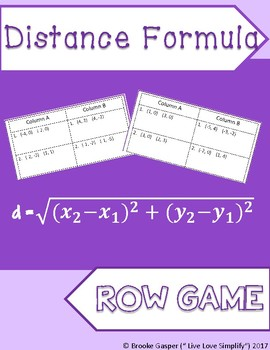 Distance Formula Row Game