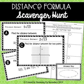 Distance Formula Scavenger Hunt