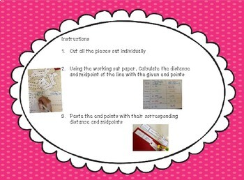 Distance Formula and Midpoint Formula Geometry Activity - Cut and Paste