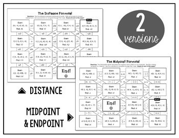 Distance Formula and Midpoint Formula Mazes by All Things Algebra