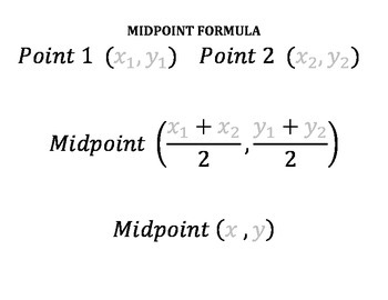 Distance Formula and Midpoint Formula Template