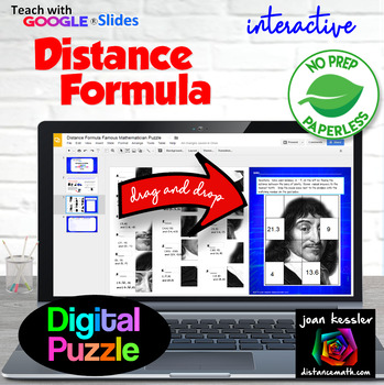 Distance Formula Famous Mathematician Mystery Puzzle with GOOGLE Slides