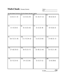 Distance Formula worksheet by Math Chunk   Teachers Pay Teachers