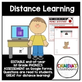 Distance Learning - 1st Grade - END OF YEAR PHONICS ASSESSMENT - Google Forms