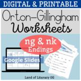 Orton-Gillingham Worksheets & Games: 2.1 Aligned (ing and ng, nk endings)