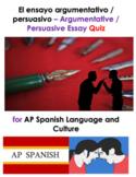 Distance Learning: AP Spanish Argumentative Persuasive Essay   Questions or Quiz