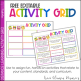 Distance Learning Activity Grid Editable FREE - GOOGLE SLIDES
