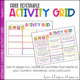 Distance Learning Activity Grid Editable FREE - POWERPOINT