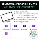 Distance Learning Adding/Subtracting 3 Digit Numbers: Exit Tickets & Assessments
