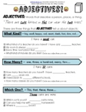 Distance Learning Adjectives Grammar Party Worksheet Packet + Test