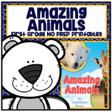 Distance Learning Amazing Animals First Grade NO PREP Supp