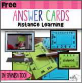 Distance Learning Answer Cards  Digital Resource   Back to School   Spanish too