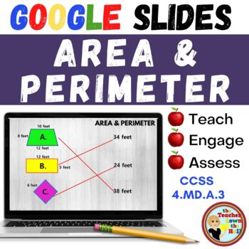 Distance Learning Area and Perimeter GOOGLE INTERACTIVE CLASSROOM!