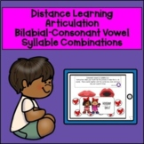 Distance Learning-Articulation-Bilabial -Consonant Vowel Syllable Combinations