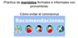 Distance Learning: Avoiding coronavirus- Commands & pronouns practice in Spanish