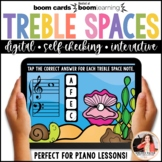 Music Distance Learning BOOM Cards Treble Space Notes 100